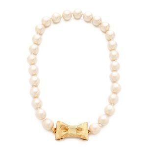 KATE SPADE • All Wrapped Up Pearl Bow Necklace